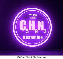pizarra, químico, fórmula, histamine