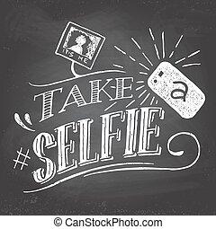 pizarra, selfie, toma