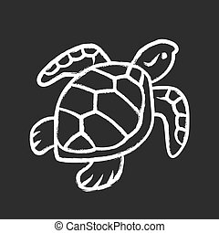 pizarra, shell., natación, oceanografía, aislado, ilustración, zoology., escamoso, marina, tortuga, lento, mudanza, animal., tiza, océano, fauna., reptil, acuático, submarino, icon., vector, creature.