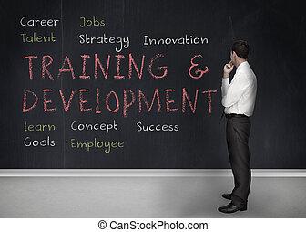 pizarra, términos, desarrollo, entrenamiento, escrito