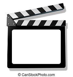 pizarra, tablilla, o, película, blanco