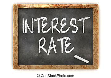 pizarra, tasa, interés