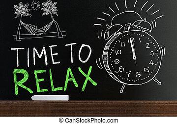 pizarra, tiempo, palabras, relajar