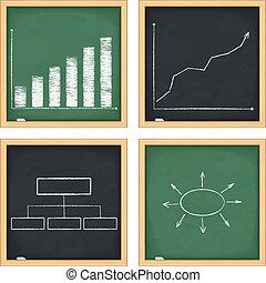 pizarras, con, gráficos, y, diagramas