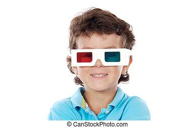 pizca, tres, niño, dimensiones, anteojos