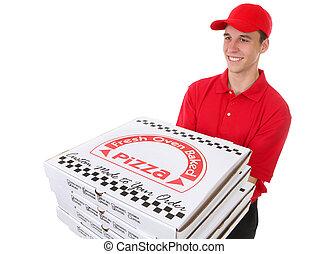 pizzák, ember, átadó