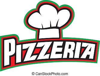 pizzéria, tervezés, címke