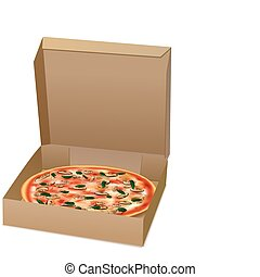 pizza 2 - illustration of pizza in box on isolated...