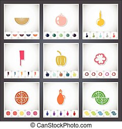Pizza. A set of flat stickers with shadow on white background