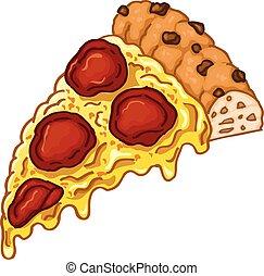 pizza, abbildung, schmackhaft, stück