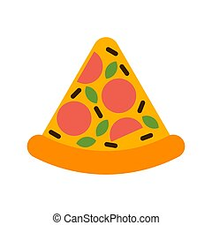 pizza, abbildung, vektor, scheibe, schnell, isolated., lebensmittel, karikatur