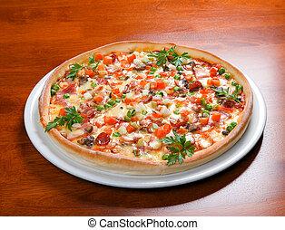 pizza, alimento, rápido