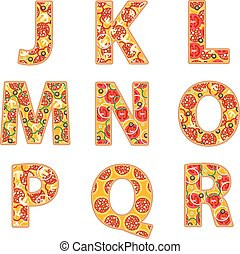 Pizza alphabet J to R on a white background.