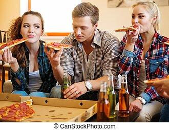 pizza, amici, mangiare, gruppo, interno, casa