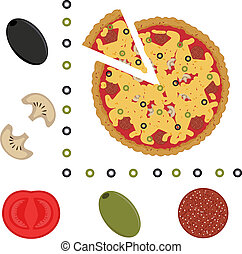 an illustration of pizza and ingredients of pizza
