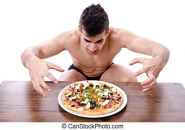 Pizza and atleta. - Pizza and atleta.Photo about diet and...