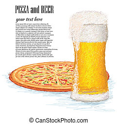 pizza-and-beer - closeup illustration of a glass of ice cold...