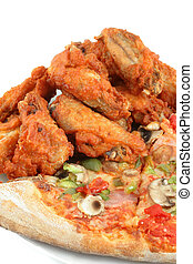 pizza and chicken wings - crispy chicken wings and ham pizza...