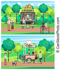 Pizza and Coffee Shop Set Vector Illustration