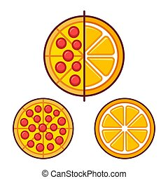 Healthy and unhealthy food - Pizza and orange fruit icon....