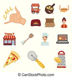 Pizza and pizzeria cartoon icons in set collection for design. Staff and equipment vector symbol stock web illustration.