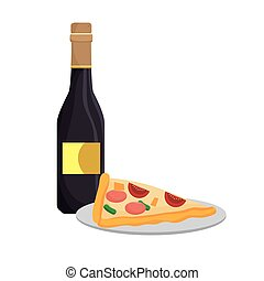 pizza and wine bottle
