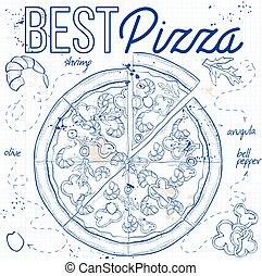 pizza, anteckningsbok, sida, räka