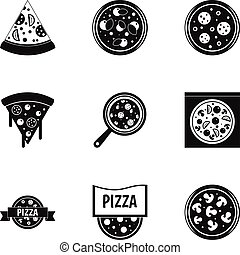 Pizza assortment icons set, simple style