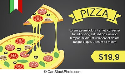 Pizza banner horizontal, isometric style