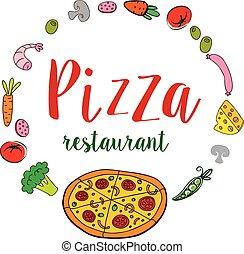 pizza, bannière, restaurant