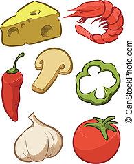 pizza, bestanddeel, -, tomaat, kaas