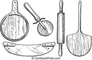 pizza boards and cutters - Vector illustration of pizza...