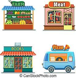 pizza, bolt, tanya, set., termékek, előjegyez, bevásárol, hús