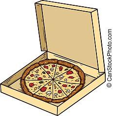 Pizza box illustration isolated on white background. Design element for poster, emblem, sign, logo, label. Vector illustration