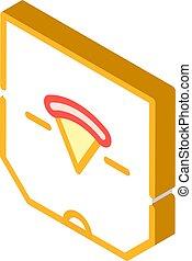 pizza box isometric icon vector isolated illustration