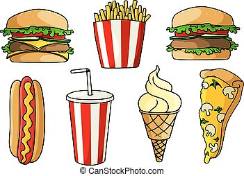 Pizza, burgers, hot dog, french fries, ice cream andsoda -...
