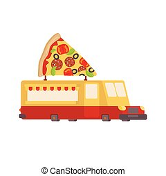 Pizza car food truck. Fast food car. Vector illustration