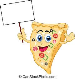 pizza, caractère, dessin animé, vide