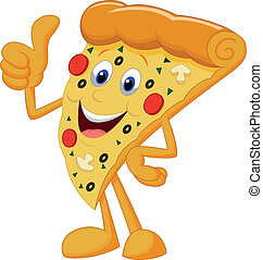 pizza, caricatura, feliz, polegar cima