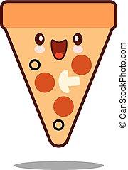 Pizza cartoon character icon kawaii fast food Flat design Vector
