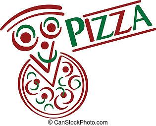 Pizza Cartoon - Cute cartoon pizza with type treatment.