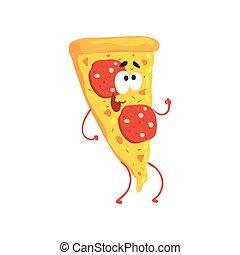 Pizza cartoon fast food character, element for menu of cafe, restaurant, kids food, vector Illustration
