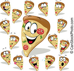 pizza cartoon illustration with many expressions