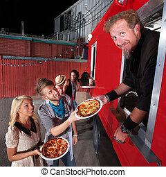 pizza, cena, en, alimento, camión