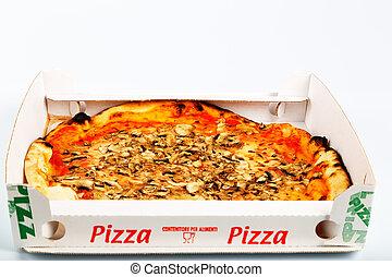 pizza, champignons, italien, plat à emporter