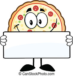 Smiling Pizza Cartoon Mascot Character Holding A Sign Illustration Isolated on white