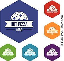 pizza, chaud, vecteur, hexahedron, icônes