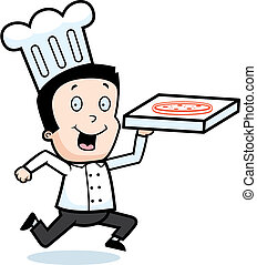 Pizza Chef - A cartoon chef with a pizza.