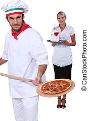 Pizza chef and a wine waitress