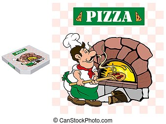 Pizza Chef and Baking Oven